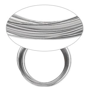wire, beadalon, stainless steel, 3/4 hard, half-round, 22 gauge. sold per pkg of 15 meters.