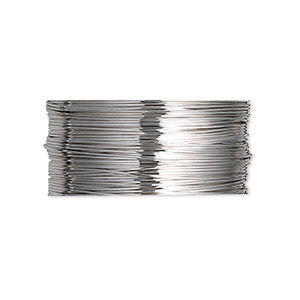 wire, beadalon, stainless steel, 3/4 hard, round, 26 gauge. sold per pkg of 20 meters.
