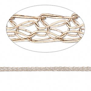 wire, enamel and copper, 2.5mm flat knit. sold per 25-foot spool.