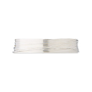 wire, fine silver, half-hard, round, 28 gauge. sold per pkg of 5 feet.