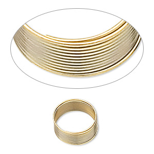 wire, gold-finished stainless steel, 0.4-0.5mm thick, 1/2 inch inside diameter. sold per 1-ounce pkg, approximately 250 loops.