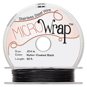 wire, microwrap™, nylon-coated stainless steel, black, 1 strand, 0.014-inch diameter. sold per 30-foot spool.
