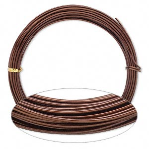 wire, painted aluminum, brown, round, 14 gauge. sold per pkg of 45 feet.