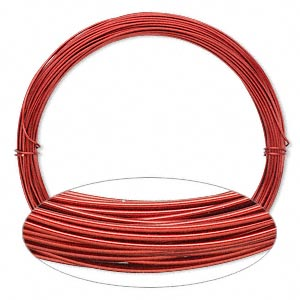 wire, painted aluminum, red, round, 20 gauge. sold per pkg of 45 feet.