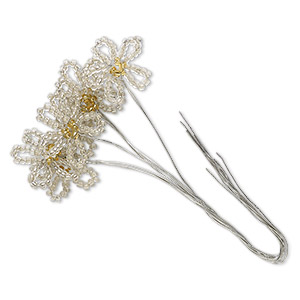 wire pick, glass and steel, silver-lined clear and yellow, 4-1/2 inches with 20x19mm flower. sold per pkg of 6.