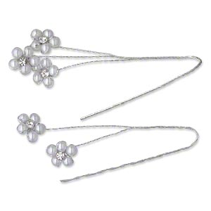 wire pick, victoria lynn™, steel / glass rhinestone / plastic, white and clear, 6 inches with 12x12mm flower. sold per pkg of 2.
