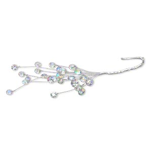 wire pick, victoria lynn™, steel and plastic rhinestone, clear ab, 7 inches with 8-10mm round chaton. sold individually.