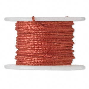 wire, polyester-covered galvanized steel, red, 1mm wide, 18 gauge. sold per 10-yard spool.