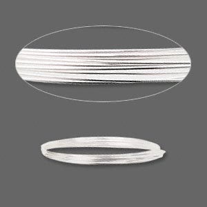 wire, sterling silver, full-hard, round, 21 gauge. sold per pkg of 5 feet.