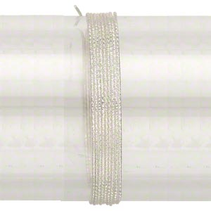 wire, sterling silver, full-hard, textured round, 20 gauge. sold per pkg of 25 feet.