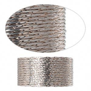 wire, sterling silver, full-hard, twisted round, 19 gauge. sold per pkg of 5 feet.