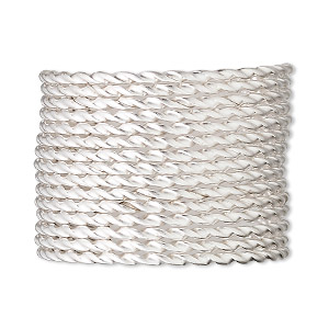 wire, sterling silver, half-hard, twisted square, 14 gauge. sold per pkg of 5 feet.