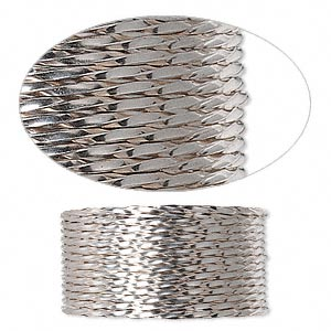 wire, sterling silver, half-hard, twisted square, 20 gauge. sold per pkg of 5 feet.