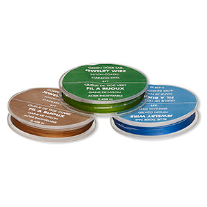 wire, tigertail™, nylon-coated stainless steel, green / blue / copper, (3) 7x1mm 8-foot spools, (30) 2x1mm crimps. sold per pkg of (3) 8-foot spools.
