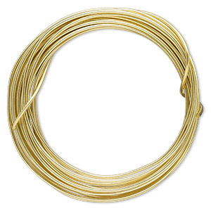 wire, zebra wire™, brass, gold color, round, 14 gauge. sold per 5-yard spool.