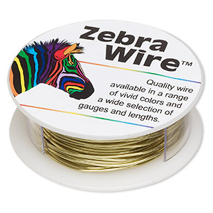 wire, zebra wire™, brass, gold color, round, 20 gauge. sold per 15-yard spool.