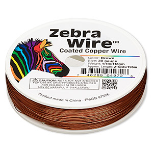 wire, zebra wire™, color-coated copper, brown, round, 30 gauge. sold per 1/4 pound spool, approximately 215 yards.