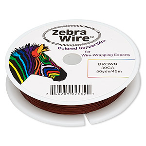 wire, zebra wire™, color-coated copper, brown, round, 30 gauge. sold per 50-yard spool.