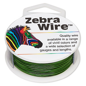 wire, zebra wire™, color-coated copper, green, round, 22 gauge. sold per 1/4 pound spool, approximately 45 yards.