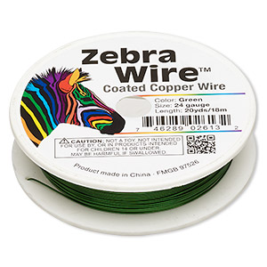 wire, zebra wire™, color-coated copper, green, round, 24 gauge. sold per 20-yard spool.