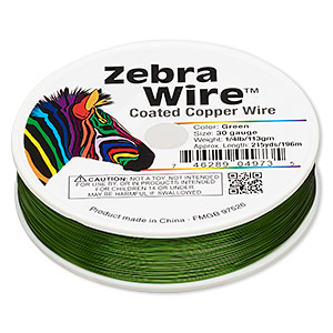 wire, zebra wire™, color-coated copper, green, round, 30 gauge. sold per 1/4 pound spool, approximately 215 yards.