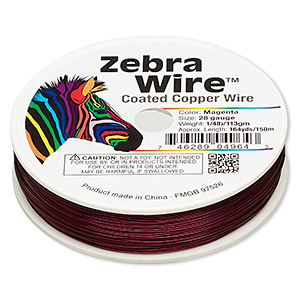wire, zebra wire™, color-coated copper, magenta, round, 28 gauge. sold per 1/4 pound spool, approximately 164 yards.