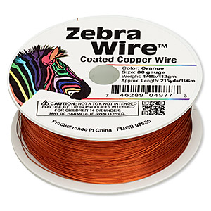 wire, zebra wire™, color-coated copper, orange, round, 30 gauge. sold per 1/4 pound spool, approximately 215 yards.