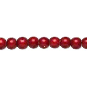 wonder bead, acrylic, cranberry, 6mm round. sold per 16-inch strand.