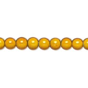 wonder bead, acrylic, gold, 6mm round. sold per 16-inch strand.