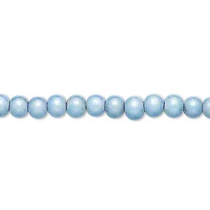 wonder bead, acrylic, light blue, 4mm round with 0.9-1.2mm hole. sold per 16-inch strand.