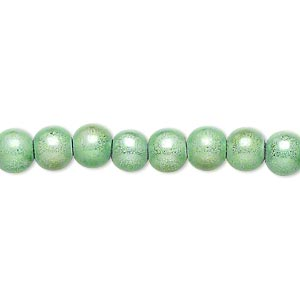 wonder bead, acrylic, mint green, 6mm round. sold per 16-inch strand.