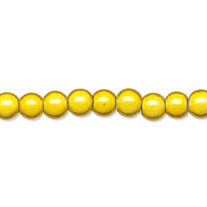 wonder bead, acrylic, yellow, 6mm round. sold per 16-inch strand.