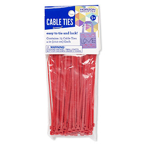 zip tie, plastic, red, 4 inches. sold per pkg of 75.