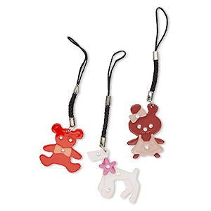 zipper pull, chrome-finished steel / acrylic / nylon / glass rhinestone, multicolored, 31x29mm single-sided bear, 38x26mm single-sided bunny and 42x33mm single-sided poodle. sold per pkg of 3.