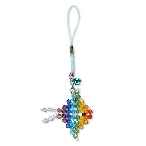 zipper pull, nylon / glass / steel / aluminum / pewter (zinc-based alloy), multicolored, 4-1/2 inches with 6mm bell and 42x42mm fish with lobster claw clasp. sold individually.