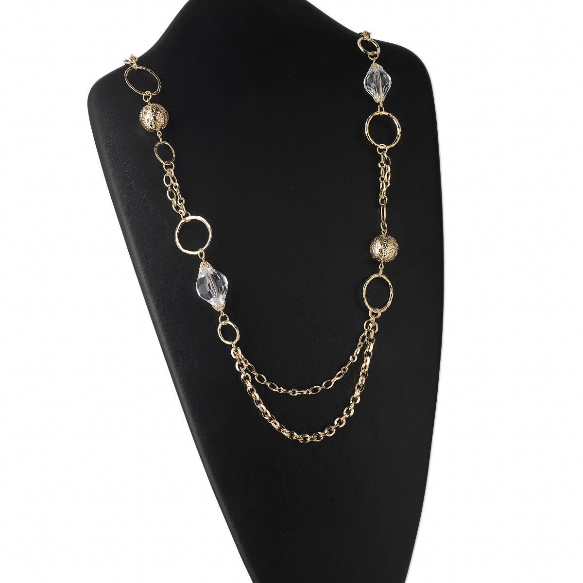 Necklace, 2-strand, gold-finished steel and acrylic, clear, 22mm