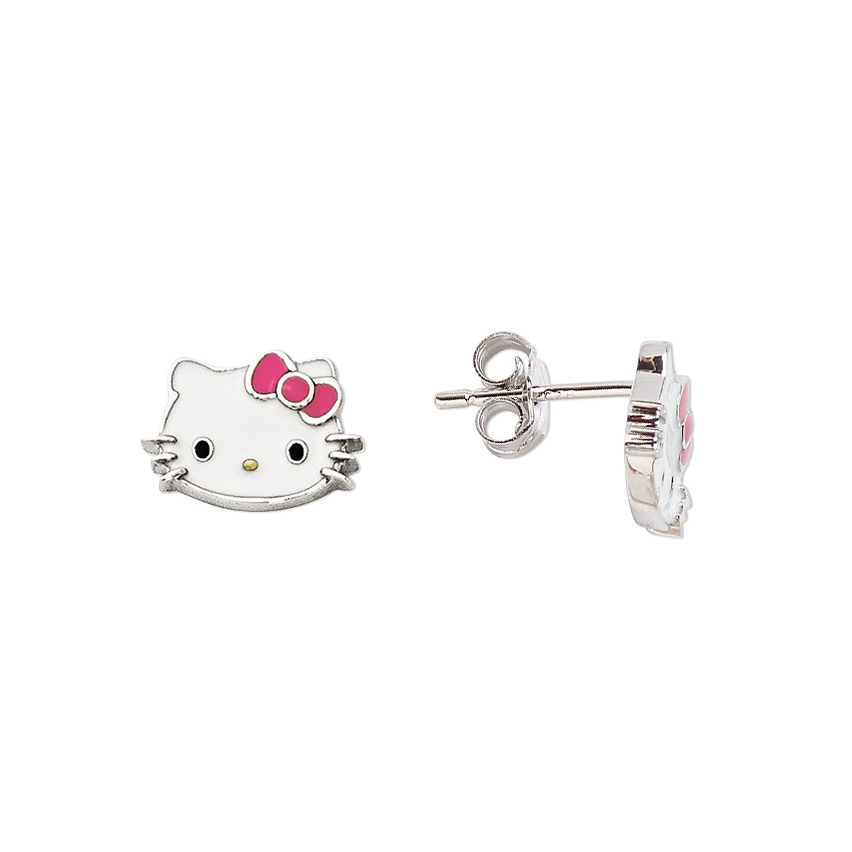 842f1845f Earring, Hello Kitty®, enamel and sterling silver, white / pink ...