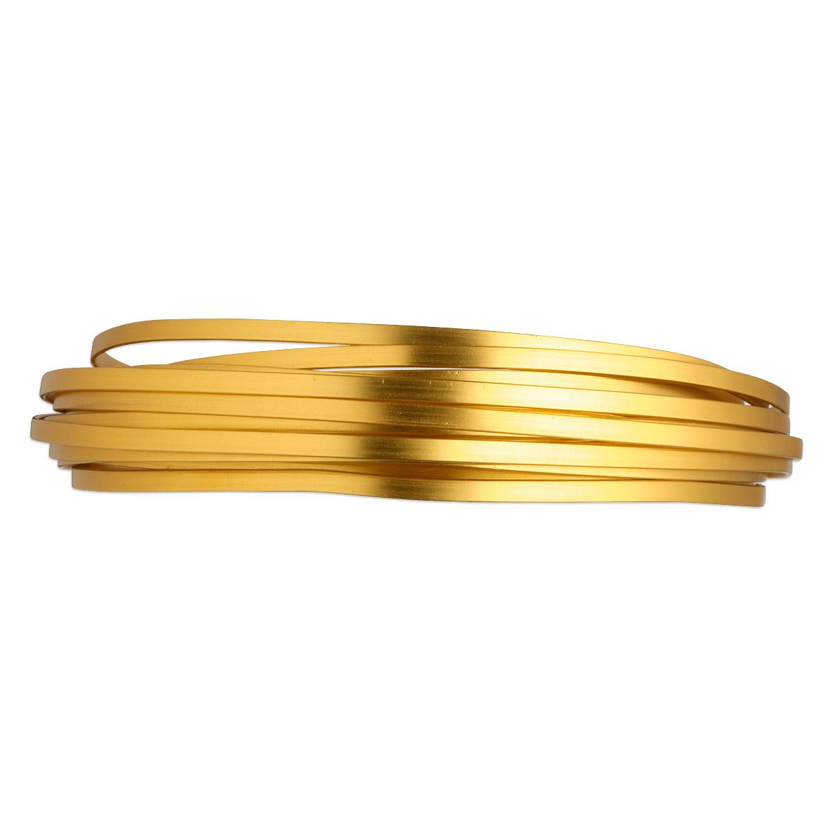 Wire, anodized aluminum, gold, 4x1.2mm flat, 16 gauge. Sold per pkg ...