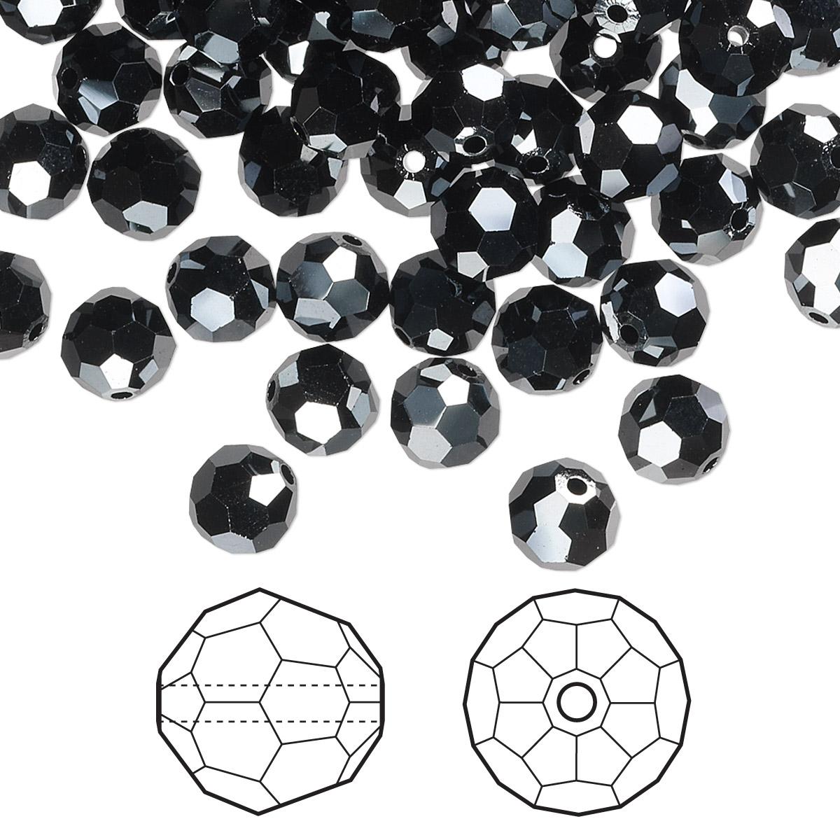 ba41c798cf2f8 Bead, Swarovski® crystals, jet hematite 2X, 6mm faceted round (5000 ...