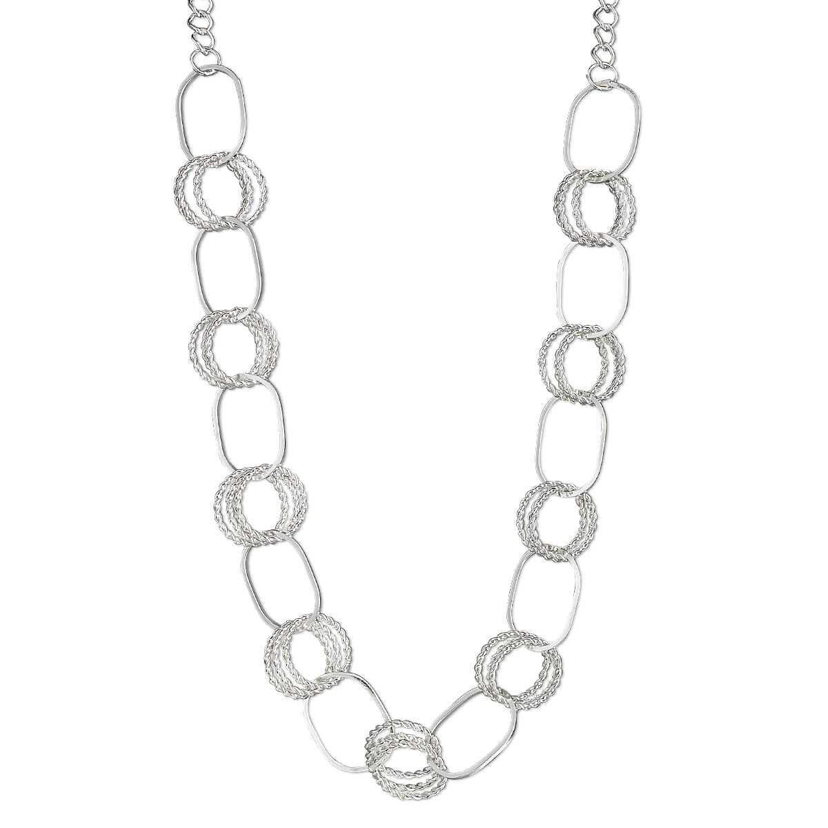 Necklace, silver-plated steel, 33x24mm oval and 24mm round, 36-inch