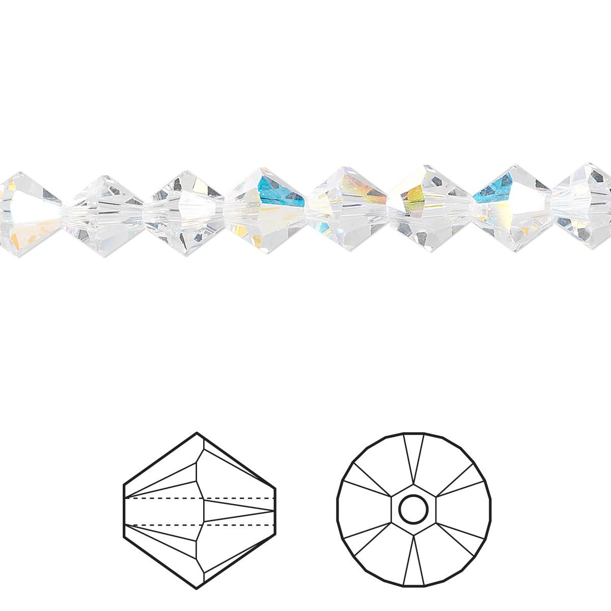 13627540a Bead, Swarovski® crystals, crystal AB, 6mm Xilion bicone (5328). Sold per  pkg of 24.