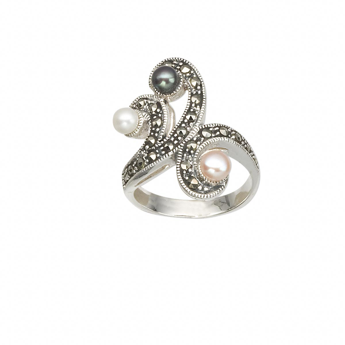b829d77c6 Ring, cultured freshwater pearl (bleached / dyed) / marcasite (natural) / sterling  silver, multicolored, 24x20mm wave, size 7-1/2. Sold individually.