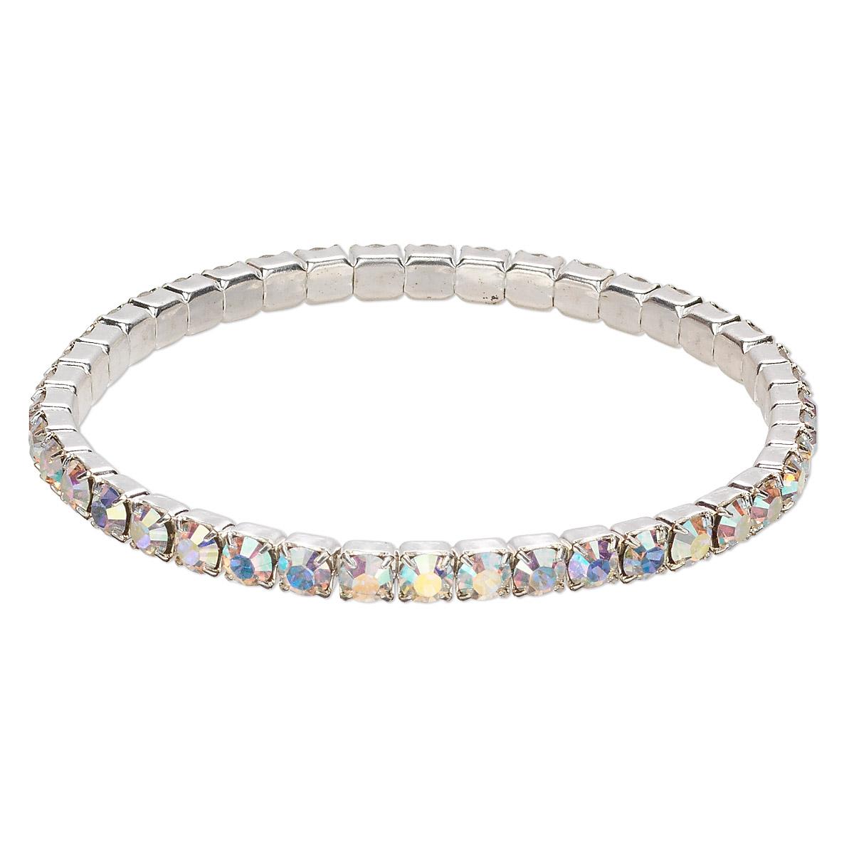 b9d923d6aef6b Bracelet, stretch, Swarovski® crystals and rhodium-plated brass ...