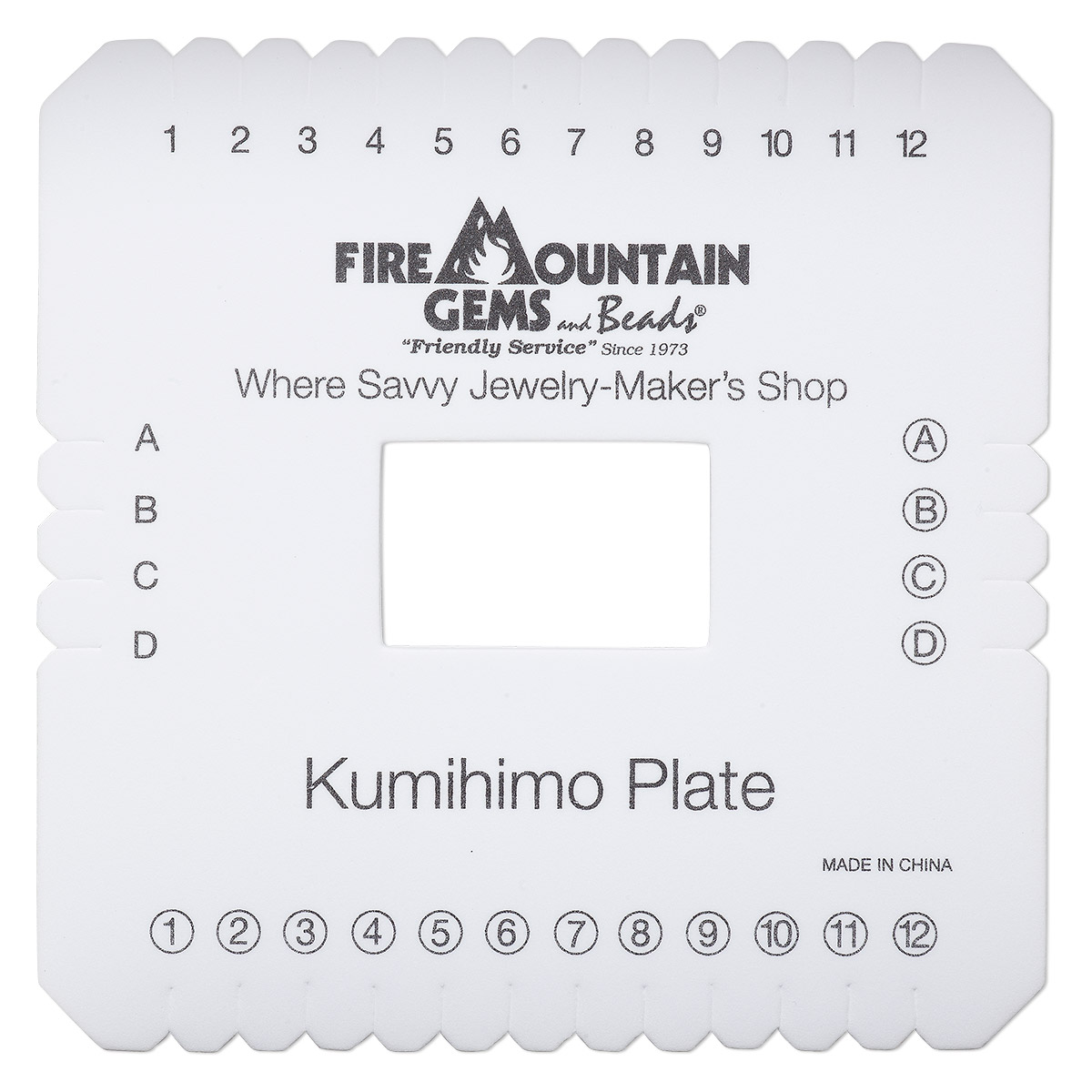 Kumihimo plate, EVA foam, white and black, 6x6-inch square with 2 x