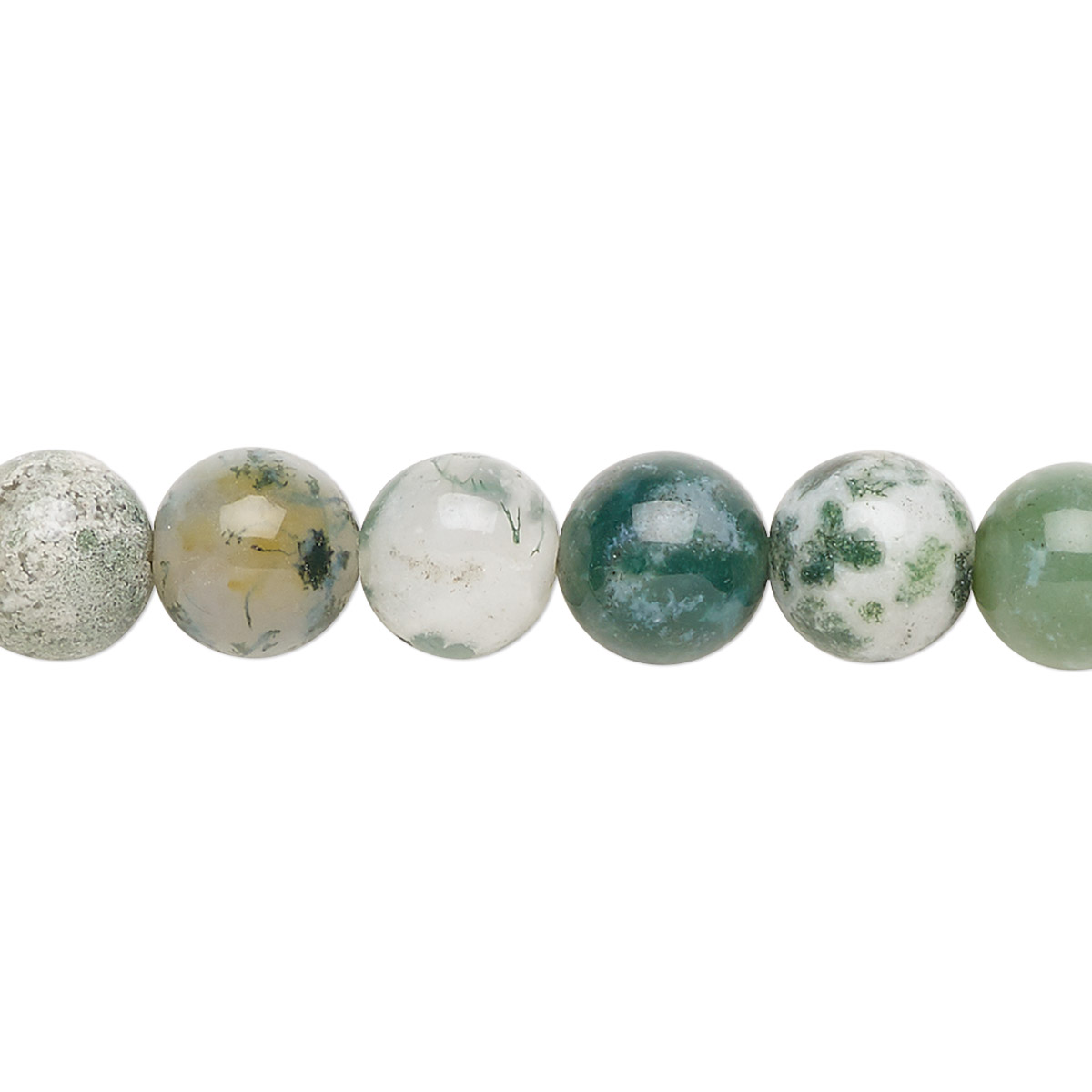Bead, tree agate (natural), 8mm round with 0.5-1.5mm hole, B grade, Mohs  hardness 6-1/2 to 7. Sold per 15-1/2