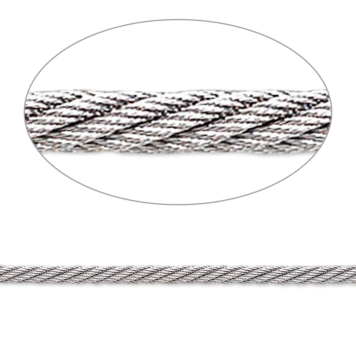 Beading wire, Accu-Flex® twisted cable wire, stainless steel, 343 ...