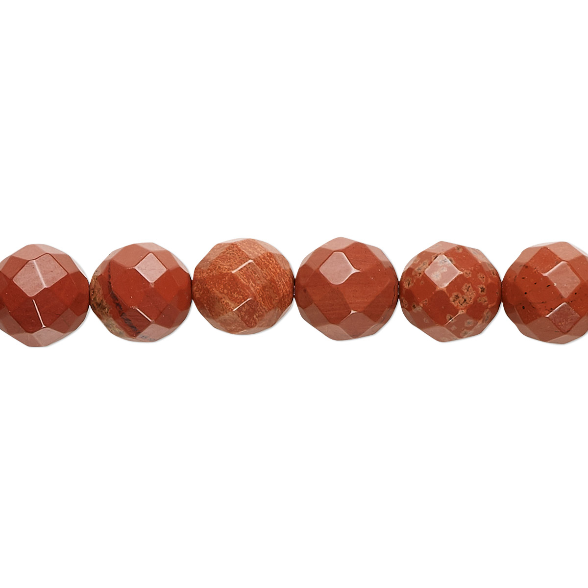 Bead, red jasper (natural), 8mm faceted round, B grade ...