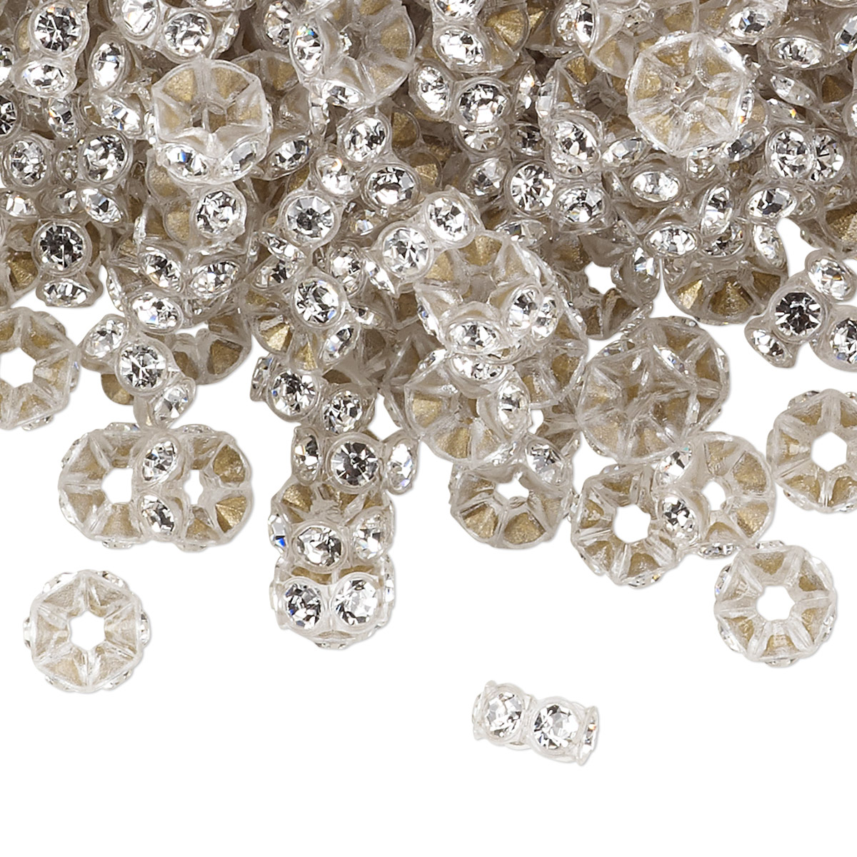 4aaf5408c3 Bead, Swarovski® crystals and plastic, crystal clear and transparent ...