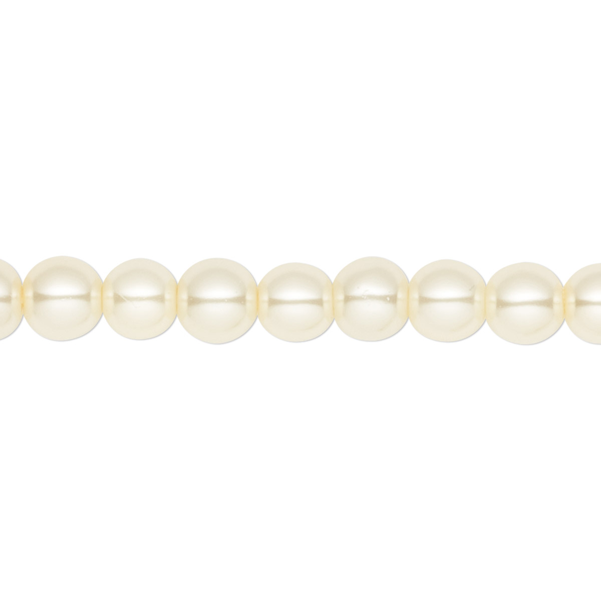 56d0fdc5e0361 Bead, Celestial Crystal®, glass pearl, ivory, 6mm round. Sold per ...