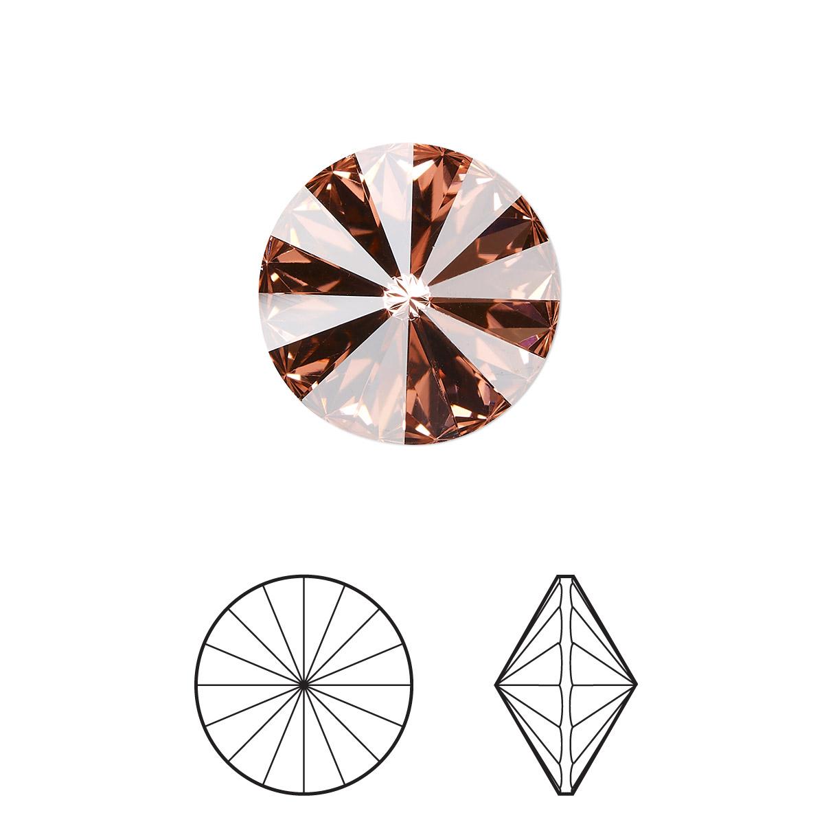 dcaf9b7795a79 Chaton, Swarovski® crystal rhinestone, rose peach, foil back, 14mm ...